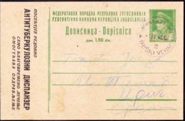 YUGOSLAVIA - JUGOSLAVIA - PC TUBERCULOSIS  TBC - Mi. P119 - 1948 - RARE  USED - Interi Postali