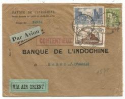 N°261+260+284A  PERFORE BI BANQUE INDOCHINE LETTRE AVION VIA AIR ORIENT PARIS 1934  POUR HANOI TONKIN - 1921-1960: Période Moderne