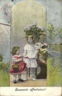 Fillettes Fleurs Souvenir Affectueux RV - Portraits