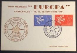 CM742 Europa Charleville Journées Culturelles Européennes 16/9/1961 Carte Maximum 1309 1310 - 1960-69