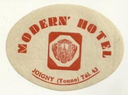 89 JOIGNY ETIQUETTE HOTEL MODERN HOTEL PUBLICITE YONNE - Etiquettes D'hotels