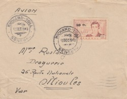 LETTRE. SENEGAL 12 12 49. RICHARD-TOLL POUR OLLIOULES VAR. N° 196 SEUL SUR LETTRE - Sénégal (1887-1944)