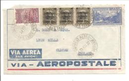 Via Aerea-Aeropostale S.Tarde-Pernam 23.7.32>Paris France 4.8.32>England - Poste Aérienne