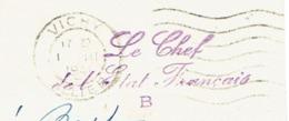 ALLIER 03 VICHY Carte De Propagande En Franchise LE CHEF DE L'ETAT FRANCAIS B + Flamme VICHY 01/03/1941 TTB - Marcophilie (Lettres)