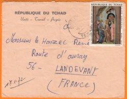 Enveloppe  De  ABECHE  école Du Centre  Pour 56 LANDEVANT   Année 1972 Timbre POSTE AERIENNE Noel 1970 20F - Chad (1960-...)