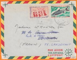 Enveloppe  De  ABECHE Tchad  Pour 56 LANDEVANT Mai 1970 Avec 2 Timbres 10F Et 20F Flamme Au Dos MOTO-CROSS 21juin... - Chad (1960-...)