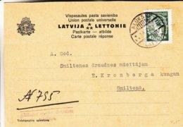 Lettonie - Carte Postale De 1938 - Oblit Aluksne - Exp Vers Smiltene - Lettonie