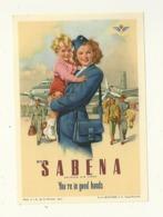 SABENA BELGIAN AIR LINES  ETIQUETTE AVION AVIATION HOTESSE DE L'AIR  BELGIQUE PUBLICITE - Baggage Labels & Tags