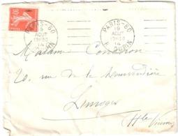 PARIS-80 R. DUPIN Lettre 10c Semeuse Yv 138 Ob Meca GARCIA B 080201 19 8 1914 - Poststempel (Briefe)
