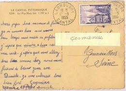 LABROUSSE CANTAL TàD RECETTE DISTRIBUTION Du 17-8-1955 - Marcofilia (sobres)