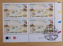 """2019 - BLOC 4 - FRANCE - """"ÉGYPTE-FRANCE LE CANAL DE SUEZ 150 ANS 1869-2019"""" - Coin Daté - Oblitéré 1er JOUR - 03.10.2019 - Hoekdatums"""