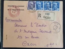RECOMMANDE - VIRE - 11 Février 1952 - Calvados - Gandon YT 883 724 - Ministère Logement Et Reconstruction - Marcophilie (Lettres)