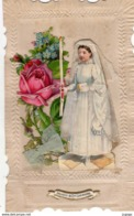 FÊTES - VOEUX   Souvenir De 1ére Communion    Relief Découpis  Noeud En Tissus - Communie