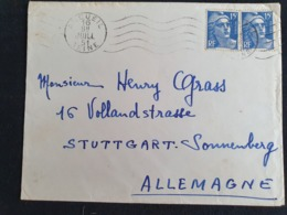 ARCUEIL Pour ALLEMAGNE - 16 Juillet 1951 - Seine - Gandon YT 724 - Poststempel (Briefe)