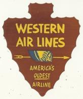 ETATS UNIS WESTERN AIRLINES ETIQUETTE AVION AVIATION COMPAGNIE AERIENNE PUBLICITE - Baggage Etiketten