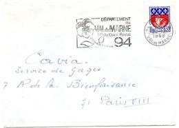 VAL De MARNE - Dépt N° 94 CRETEIL Ppal  1968 = FLAMME Codée = SECAP  ' N° De CODE POSTAL / PENSEZ-Y ' - Zipcode
