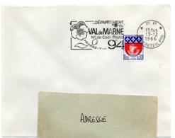 VAL De MARNE - Dépt N° 94  CRETEIL Ppal  1966 = FLAMME PP Codée = SECAP  ' N° De CODE POSTAL / PENSEZ-Y ' - Zipcode