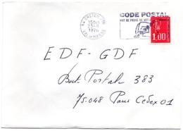 VAL De MARNE - Dépt N° 94  CRETEIL Ppal 1976 =  FLAMME à DROITE =  SECAP Illustrée ' CODE POSTAL / Mot Passe' - Zipcode