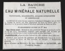 1875 EAU LA BAUCHE EAUX MINERALES NATURELLE SAVOIE CHAMBERY 73 PUBLICITE ANCIENNE MEDECINE THERMES ANTIQUE AD WATER - Publicités
