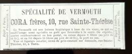 1875 VERMOUTH CORA FRERES VIN VIEUX LIQUEUR ALCOOL TURIN TORINO ITALIE ITALIA PUBLICITE ANCIENNE BOISSONS DRINK AD - Pubblicitari