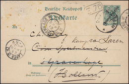 Deutsch-Ostafrika Postkarte P 5 Ziffer 3 Auf 5, DAR-ES-SALAAM 1900 Nach Holland - Kolonie: Duits Oost-Afrika