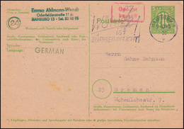Postkarte P 903 AM-Post 5 Pf. Mit Gebühr-bezahlt-Stempel HAMBURG 9.10.1946 - Zone Anglo-Américaine
