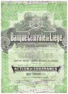 Titre Ancien - Banque Centrale De Liège - Société Anonyme -Titre De 1927 - N° 27931 - Banque & Assurance