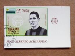 Rare, Proof Printing Imperforated Sharjah Uae Football Soccer Uruguay Player Juan Alberto Schiaffino - Uruguay