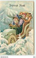N°10420 - Carte Fantaisie Gaufrée - Joyeux Noël - Père Noël En Automobile - Weihnachten