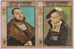 État Kathiri Dans L'Hadramaout (République Du Yémen) (MNH) - Portraits De Christiane Eulenau Et John Frederick I De Luca - Yemen