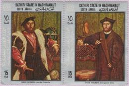 État Kathiri Dans L'Hadramaout (Rép Yémen) (MNH) - Portraits De Jean De Dinteville Et Georges De Selve De Hans Holbein - Yemen