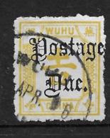 1895 CHINA  WUHU POSTAGE DUE 1/2c Yellow USED CHAN LWD13 $16 - China