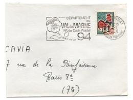 VAL De MARNE - Dépt N° 94 GENTILLY 1968 = FLAMME Codée = SECAP  ' N° De CODE POSTAL / PENSEZ-Y ' - Zipcode