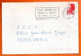 01 BOURG EN BRESSE FOIRE   1988  Lettre Coupée N° PP 236 - Marcophilie (Lettres)