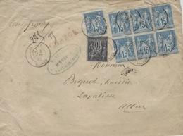 1882 - Enveloppe CHARGE V D 100 F  De Jaligny ( Allier ) Cad T18 Affr.   Affr. 1,15 F Dont Bloc De 6 Du 15 C - 1877-1920: Période Semi Moderne