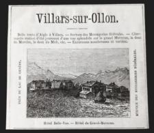 1875 VILLARS SUR OLLON SUISSE HOTEL BELLE VUE & DU GRAND MOREVAN ALPES MONTAGNE GENEVE VAUD PUB ANCIENNE - Pubblicitari