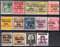 USA Precancel Vorausentwertung Preo, Locals Massachusetts, Worchester 225, 14 Diff. Perf. 3 X 11x11, 11 X 11x10 1/2 - Vorausentwertungen