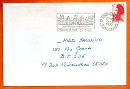 77 FONTAINEBLEAU  SON PALAIS   1990  Lettre Coupée N° PP 242 - Marcophilie (Lettres)