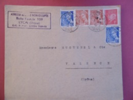 TRES BELLE LETTRE Avec ADRESSE En ZONE NON OCCUPEE  - AFFRANCHISSEMENT   -  GUERRE 1939 - 1945 - Marcophilie (Lettres)