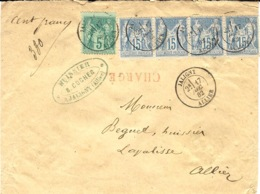 1882 - Enveloppe CHARGE V D 100 F  De Jaligny ( Allier ) Cad T18 Affr.   Affr.  65 C Dont Bande De 4  Du 15 C Sage - 1877-1920: Période Semi Moderne