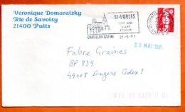 21 CHATILLON/ SEINE  1000 ANS D'ART ROMAN   1991  Lettre Coupée N° PP 244 - Marcophilie (Lettres)