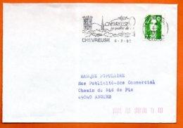 78 CHEVREUSE SA QUALITE DE VIE   1992  Lettre Coupée N° PP 245 - Marcophilie (Lettres)