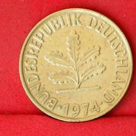 GERMANY FEDERAL REPUBLIC 10 PFENNIG 1974 F -    KM# 112 - (Nº31675) - [ 7] 1949-…: BRD