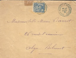"""1900- Enveloppe  Affr. 15 C Sage Oblit. Conv. De Ligne """" TIZI-OUZOU A MRNERVILLE   """" Bleu - 1877-1920: Période Semi Moderne"""