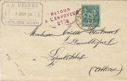 1888- Avis D'Assurances  De LAPALISSE  Affr. 5 C  + Retour  / à L'envoyeur / 2774  Rouge - COURRIER LOCAL - 1877-1920: Période Semi Moderne