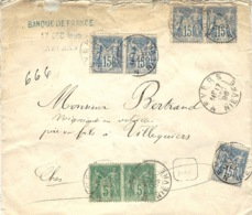 1896- Enveloppe RECC. De Nevers ( Nièvre )affr. à  85 C   - Au Dos Sceaux De La Banque De France - 1877-1920: Période Semi Moderne