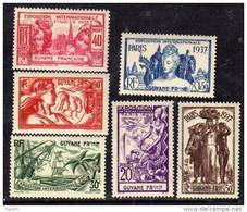 Guyane N° 143 / 48 X :Exposition Internationale De Paris La Série Des 6 Valeurs Trace De Charnière Sinon TB - Neufs