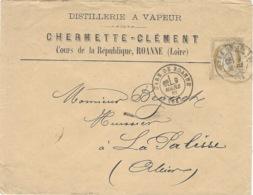 1882- Enveloppe à En-tête Affr.  N°55 SEUL Oblit. Cad T17  De GARE DE ROANNE - 1877-1920: Période Semi Moderne