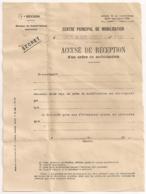 FORMULAIRE  ACCUSE DE RECEPTION D'UN ORDRE DE MISSION / CENTRE DE MOBILISATION COLONIAL D'INFANTERIE N° 179 B1082 - Documents