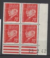 CD 511 FRANCE 1942 COIN DATE 511  : 23 / 2 / 42 EFFIGIES DU MARECHAL PETAIN - Dated Corners